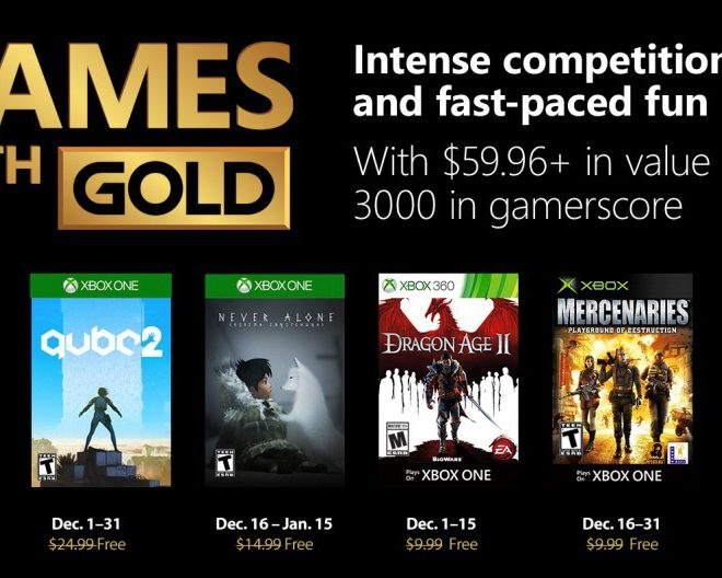 Descubre los Game with Gold de diciembre